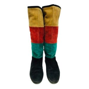 Vtg 90s Italian Suede Color block Slouch Boots 6